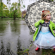 04/22/2012   BOSTON, MA          Rylee Kipf (cq) 4, of Oklahoma, is called back from the water's edge by her mother while playing in the rain at the Boston Public Garden.  (Aram Boghosian for The Boston Globe)