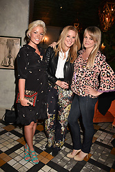 Left to right, Natalie Rushdie, Zoe Willis and Sophie Michell at The Ivy Chelsea Garden's Annual Summer Garden Party, The Ivy Chelsea Garden, 197 King's Road, London England. 9 May 2017.<br /> Photo by Dominic O'Neill/SilverHub 0203 174 1069 sales@silverhubmedia.com