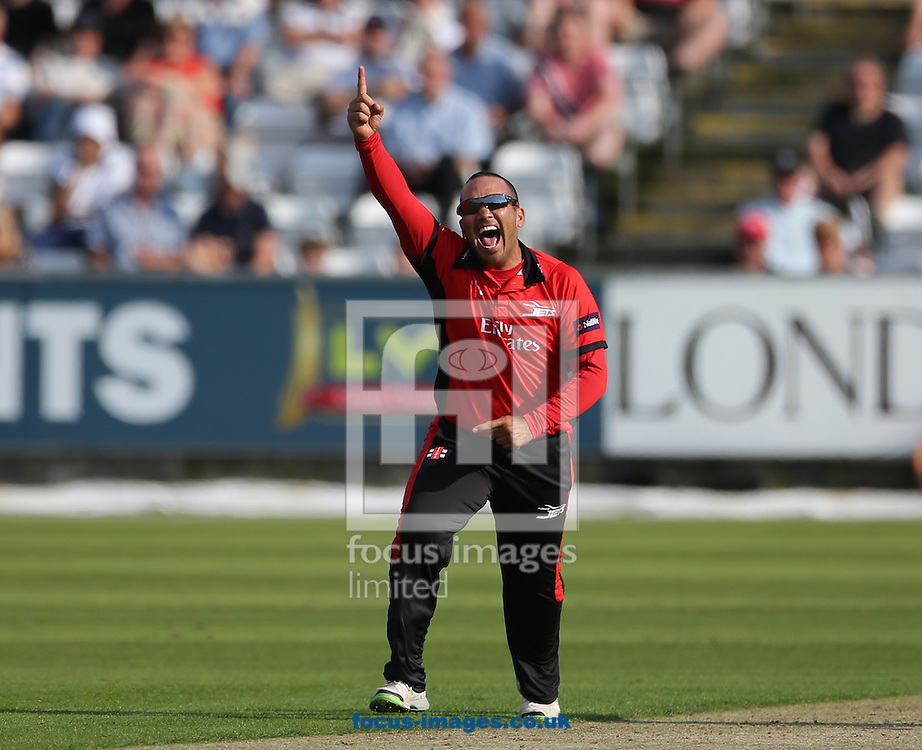 Gareth Breese of Durham Jets celebrates taking a wicket during the Natwest T20 Blast match at Emirates Durham ICG, Chester-le-Street<br /> Picture by Simon Moore/Focus Images Ltd 07807 671782<br /> 11/07/2014