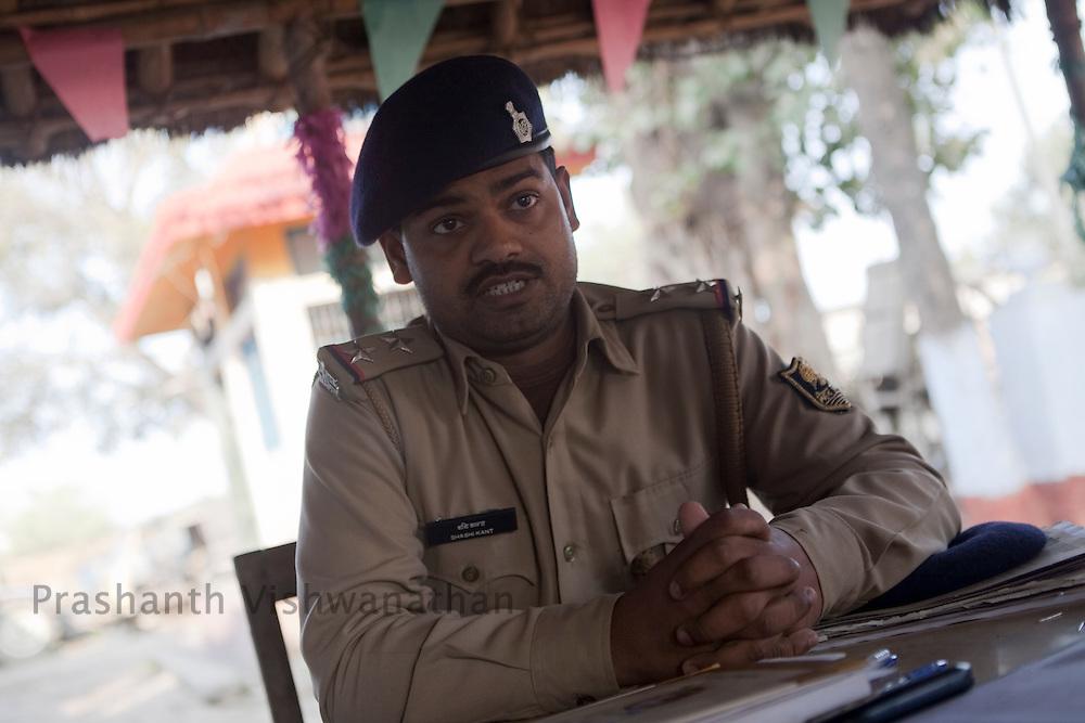 Sub Inspector Sashikant speaks during an interview at the Karga polic station in, Muzzafarpur Dist. Bihar, India, on Thursday, February 17, 2011. Photographer: Prashanth Vishwanathan/Bloomberg News