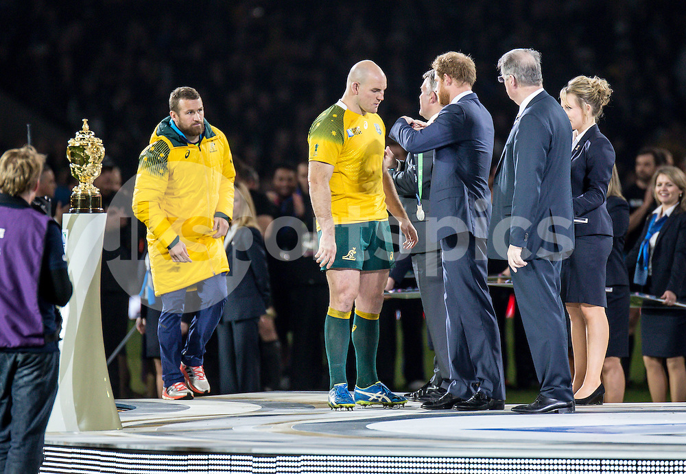 Stephen Moore Captain of Australia receives his medal during the Rugby World Cup Final match between New Zealand and Australia played at Twickenham Stadium, London on the 31st of October 2015. Photo by Liam McAvoy