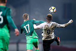 Gal Primc of Slovenia vs Moussa Dembele of France during football match between Slovenia and France in Qualifying round for European Under-21 Championship 2019, on November 13, 2017 in Sportni park, Domzale, Slovenia. Photo by Morgan Kristan / Sportida