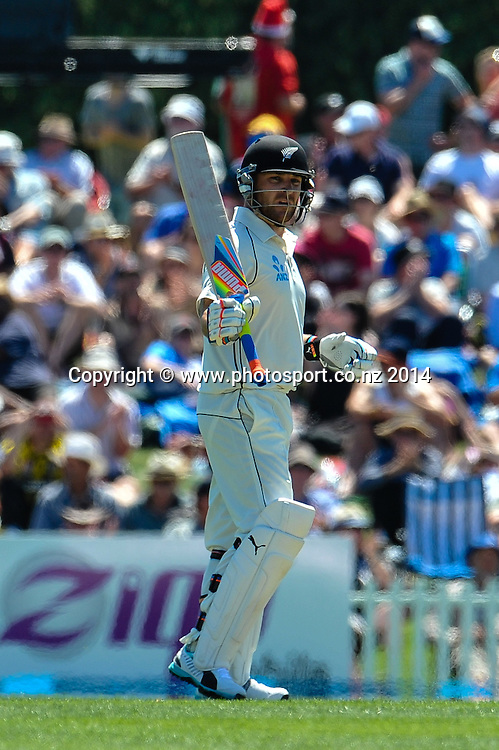 Brendon McCullum of the Black Caps celebrates his 50 in the 1st day of the cricket test match, NZ v Sri Lanka, Hagley Oval, 26 December 2014. Photo:John Davidson/www.photosport.co.nz