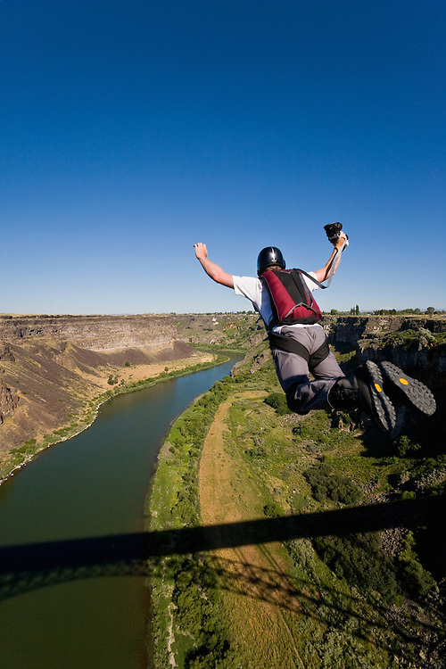 Base Jumping off the Perrine Bridge in Twin Falls Idaho is one of the few places in the United States where it is legal to jump off of a public structure without a permit at 486 feet (148 m) above the Snake River.