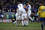 Tranmere Rovers players celebrate their teams 2nd goal scored by James Wallace (in c).  Skybet football league 1match, Tranmere Rovers v Coventry city at Prenton Park in Birkenhead, England on Saturday 22nd Feb 2014.<br /> pic by Chris Stading, Andrew Orchard sports photography.