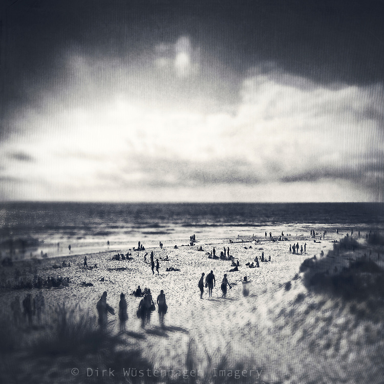 People on the beach of Contis-Plage / France - digitally manipulated b&w photograph