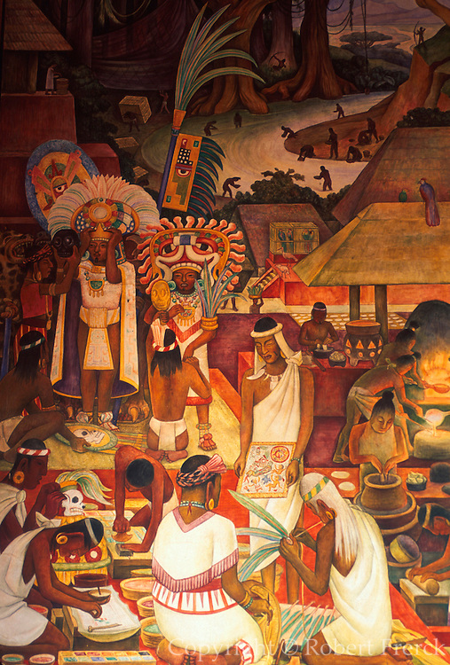 MEXICO, MEXICO CITY, MURAL Rivera mural 'Zapotec Civilization'