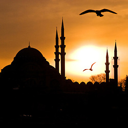 Silhouette of the Suleiman mosque during sunset, Istambul, Turkey, Asia