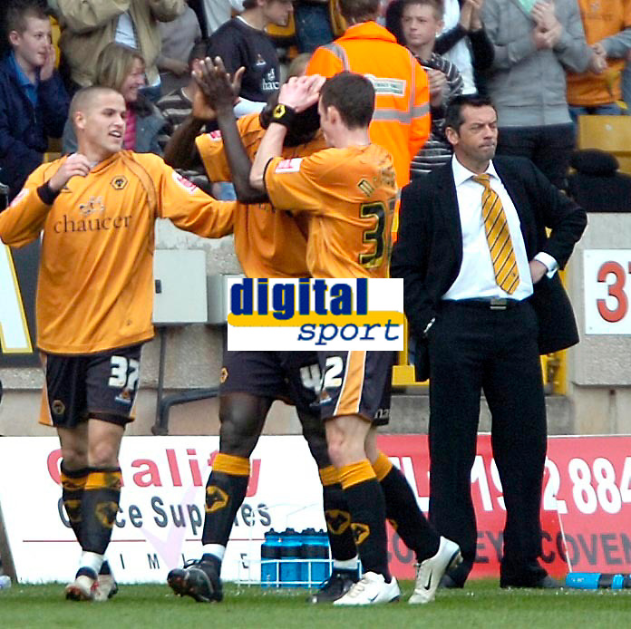 Photo: Ed Godden/Sportsbeat Images.<br />Wolverhampton Wanderers v Hull City. Coca Cola Championship. 09/04/2007. Hull Manager Phil Brown, can't bear to watch as the Wolves' players celebrate their second goal in front of him.