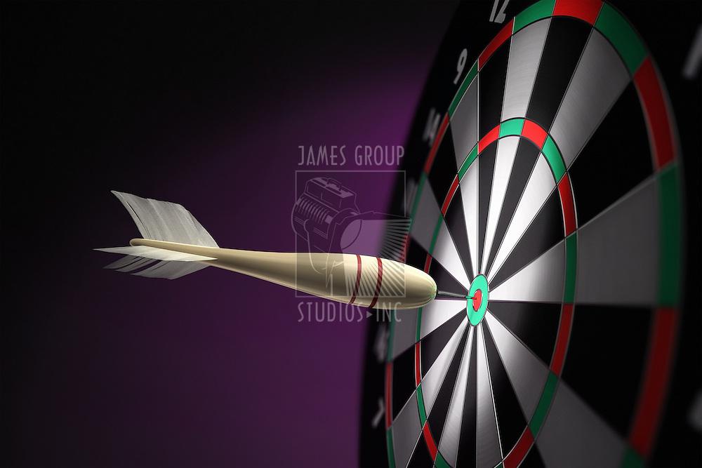 A classic wooden dart stuck on the bullseye of the dartboard