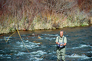 Fly fishing on the Frying Pan River near Basalt, Colorado.