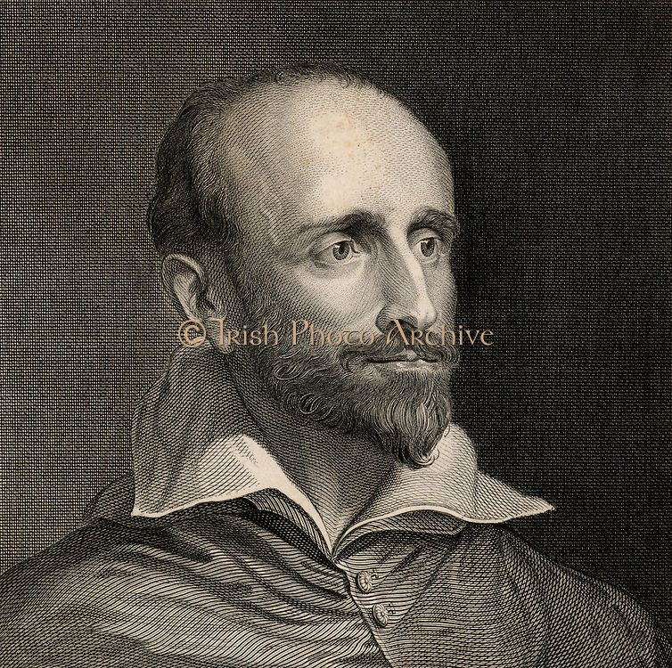 Guido Bentivoglio (1579-1644) Italian cardinal, statesman, diplomat and historian, born at Ferrara.  Engraving after the portrait by Van Dyke.