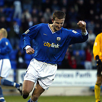 St Johnstone v Raith Rovers...24.01.04<br />Chris Hay celebrates his second goal<br /><br />Picture by Graeme Hart.<br />Copyright Perthshire Picture Agency<br />Tel: 01738 623350  Mobile: 07990 594431