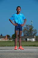 GEORGE, SOUTH AFRICA - 12 October 2016 - Feature story on Durando Aweries, the 13 year old race walker who defended his South African 3km Sub youth boys (13 years old and younger) at the Athletics South Africa (ASA) national 50km race walk championships held at Youngsfield Military base in Wynberg, on Saturday 8 October. Durando walks barefoot, not by choice but because of huge financial hardship his family faces every day. Elana Meyer decided to help Durando by donating shoes and some clothing to him to help inspire and kick start what potentially could be a magnificent race walk career.<br /> Photo by Roger Sedres/ImageSA