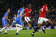 Paul Pogba of Manchester United attacks the Brighton goal during the Premier League match between Brighton and Hove Albion and Manchester United at the American Express Community Stadium in Brighton and Hove. 04 May 2018