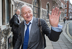 © Licensed to London News Pictures. 30/03/2017. London, UK. Former Mayor of London Ken Livingstone waves as he arrives at Church House for a Labour Party disciplinary hearing. Mr Livingstone has been accused of anti-Semitism after comments he made in April 2016 claiming that Hitler supported Zionism in the 1930's. Photo credit: Peter Macdiarmid/LNP