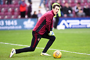 Hearts keeper Jon McLaughlin warms up for the Ladbrokes Scottish Premiership match between Heart of Midlothian and Celtic at Tynecastle Stadium, Gorgie, Scotland on 17 December 2017. Photo by Kevin Murray.