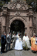 Sunday afternoon wedding party at a park in La Paz, Bolivia.