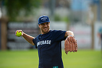 KELOWNA, CANADA - JUNE 28: 2019 Stanley Cup Champion Brayden Schenn of the St. Louis Blues throws the ball during the opening charity game of the Home Base Slo-Pitch Tournament fundraiser for the Kelowna General Hospital Foundation JoeAnna's House on June 28, 2019 at Elk's Stadium in Kelowna, British Columbia, Canada.  (Photo by Marissa Baecker/Shoot the Breeze)