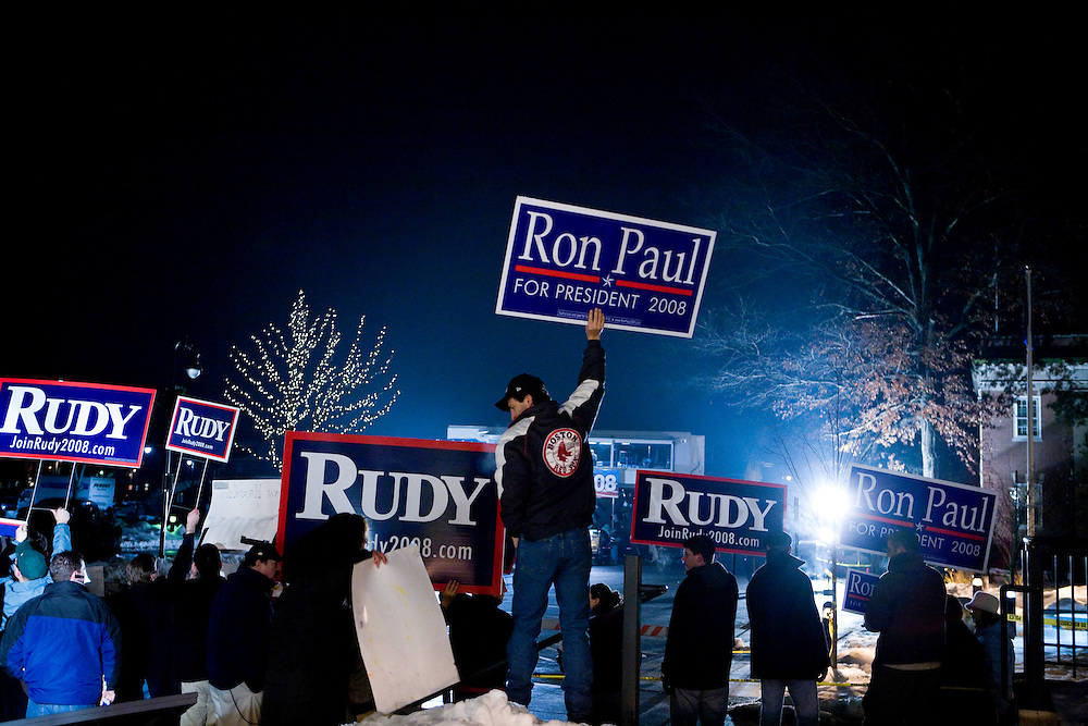 Supporters of Republican presidential hopefuls former New York City mayor Rudy Giuliani and Ron Rep. Paul (R-Texas) rally on the eve of the New Hampshire presidential primaries in Manchester, N.H., on Monday, Jan. 7, 2008.
