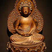 Asian work of art ( Japanese/Chinese ) gilt ( wood/brass ) ( seated/head ) Buddha, Endo period late 18th century shown at the Asian Pacific Art Show