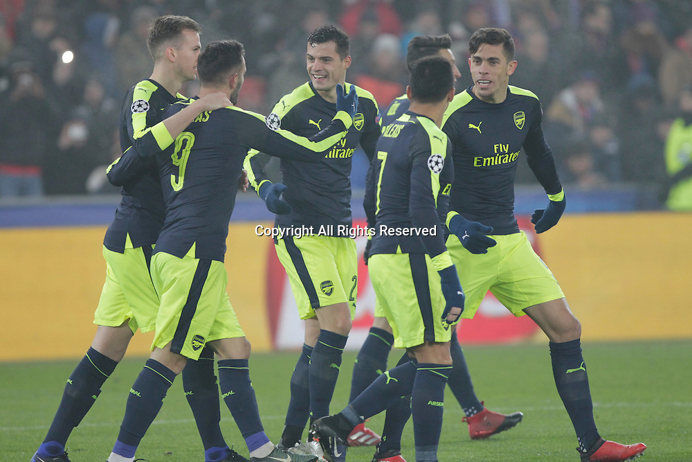 06.12.2016. Basel, Switzerland. Célebration  for the goal from Lucas Perez (Arsenal) at the Champions League Group A FC Basle versus Arsenal at St. Jakob Park in Basel, Switzerland