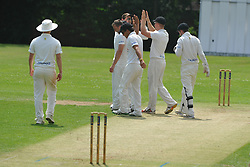 PETERBOROUGH CELEBRATE AFTER CATCHING OPENING BATSMAN MARK HODGSON, CRICKET, OUNDLE TOWN CC v PETERBOROUGH CC Saturday  23rd July 2016