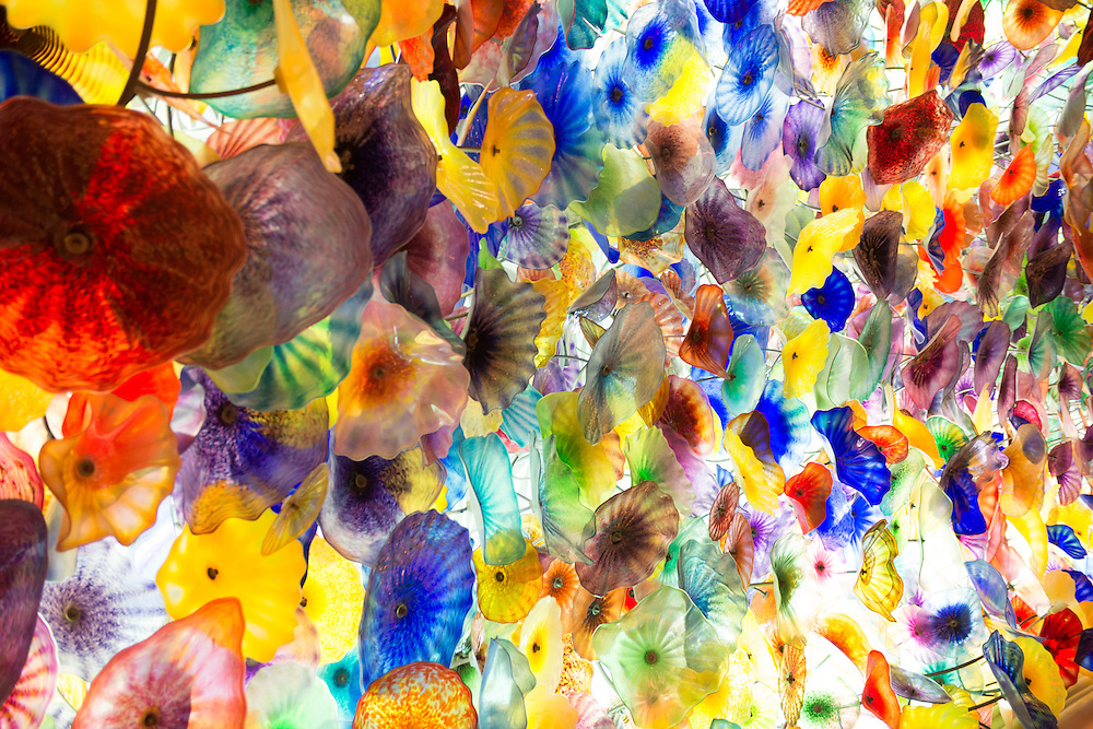 Beautiful glass ceiling in the Bellagio Hotel in Las Vegas, Nevada.