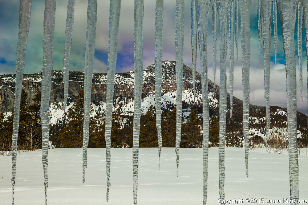 Icicles & Rocky Mountains, Alberta Canada