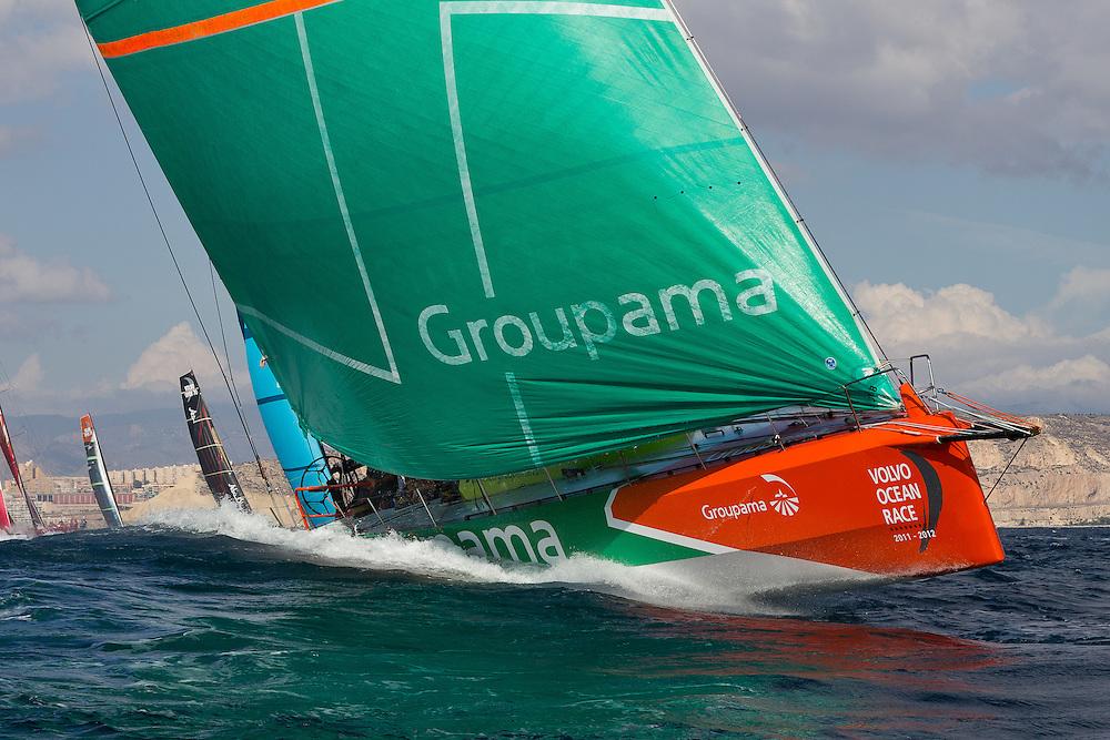 SPAIN, Alicante. 30th October, 2011. Volvo Ocean Race. Groupama Sailing Team.
