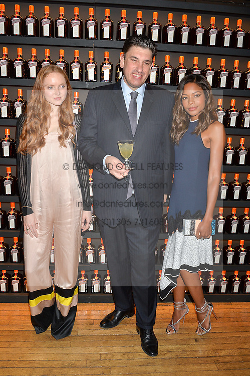 Left to right, LILY COLE, PANOS SARANTOPOULOS and NAOMIE HARRIS at the Cointreau Creative Crew Award at Liberty, Great Marlborough Street, London on 24th May 2016.