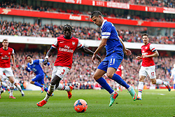 Everton Forward Kevin Mirallas (BEL) is challenged by Arsenal Defender Bacary Sagna (FRA) - Photo mandatory by-line: Rogan Thomson/JMP - 07966 386802 - 08/03/14 - SPORT - FOOTBALL - Emirates Stadium, London - Arsenal v Everton - FA Cup Quarter Final.