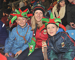 Cold but colouful ....Cian and Tiernan Mangan with their mum Iseult from Hollymount were amoung the hardy Mayo fans that braved the elements in McHale Park as Mayo took on the Dubs.<br /> Pic Conor McKeown