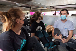 © Licensed to London News Pictures. 03/09/2020. London, UK. Animal Rebellion protesters sit inside a pink dumped truck outside the Department of health in Victoria St.  The protesters have fixed themselves outside and inside the truck. Photo credit: Ray Tang/LNP