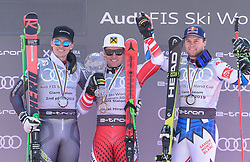16.03.2019, Soldeu, AND, FIS Weltcup Ski Alpin, Riesenslalom, Herren, Siegerehrung, Weltcupwertung, im Bild Henrink Kristoffersen (NOR, dritter Platz Gesamt Welt Cup, zweiter Platz Slalom und Riesen Slalom Weltcup) Marcel Hirscher (AUT, Sieger Slalom, Riesen Slalom und Gesamt Weltcup), Alexis Pinturault (FRA zweiter Platz Gesamtweltcup,erster Platz Kobination Weltcup und dritter Platz Riesenslalom Weltcup) // Henrink Kristoffersen (NOR, dritter Platz Gesamt Welt Cup, zweiter Platz Slalom und Riesen Slalom Weltcup) Marcel Hirscher (AUT, Sieger Slalom, Riesen Slalom und Gesamt Weltcup), Alexis Pinturault (FRA zweiter Platz Gesamtweltcup,erster Platz Kobination We during the winner ceremony for the men's Giant Slalom Worldcup rating of FIS Ski Alpine World Cup finals. Soldeu, Andorra on 2019/03/16. EXPA Pictures © 2019, PhotoCredit: EXPA/ Erich Spiess