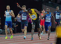 Athletics - 2017 IAAF London World Athletics Championships - Day Nine, Evening Session<br /> <br /> Mens 4 x 100m Relay<br /> <br /> Usain Bolt (Jamaica) sees his dream shattered as he pulls up injured coming down the home straight at the London Stadium<br /> <br /> COLORSPORT/DANIEL BEARHAM