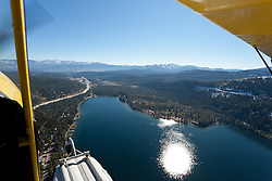 """Seaplane over Donner Lake"" - Photograph of Donner Lake in Truckee California. Shot from an amphibious seaplane with the door removed."