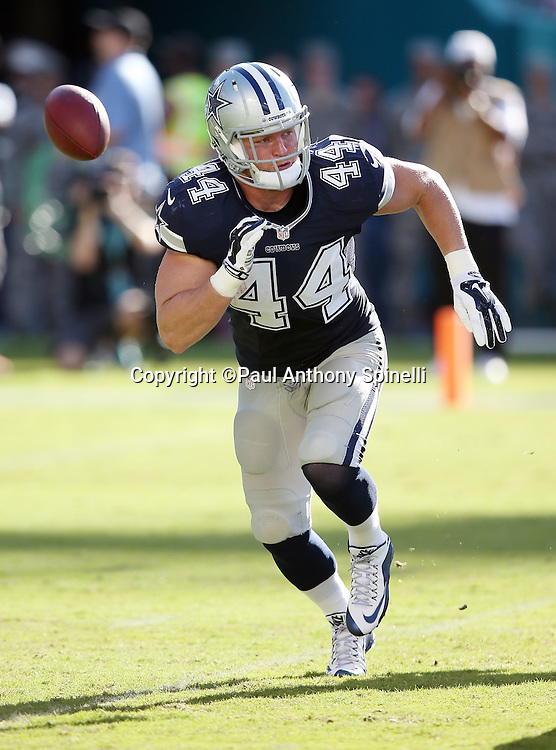 Dallas Cowboys fullback Tyler Clutts (44) lead blocks during the 2015 week 11 regular season NFL football game against the Miami Dolphins on Sunday, Nov. 22, 2015 in Miami Gardens, Fla. The Cowboys won the game 24-14. (©Paul Anthony Spinelli)