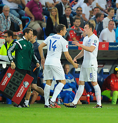 England's Phil Jagielka (Everton) replaces the injured England's Phil Jones (Manchester United) - Photo mandatory by-line: Joe Meredith/JMP - Mobile: 07966 386802 - 08/09/14 - SPORT - FOOTBALL - Switzerland - Basel - St Jacob Park - Switzerland v England - Uefa Euro 2016 Group E Qualifier