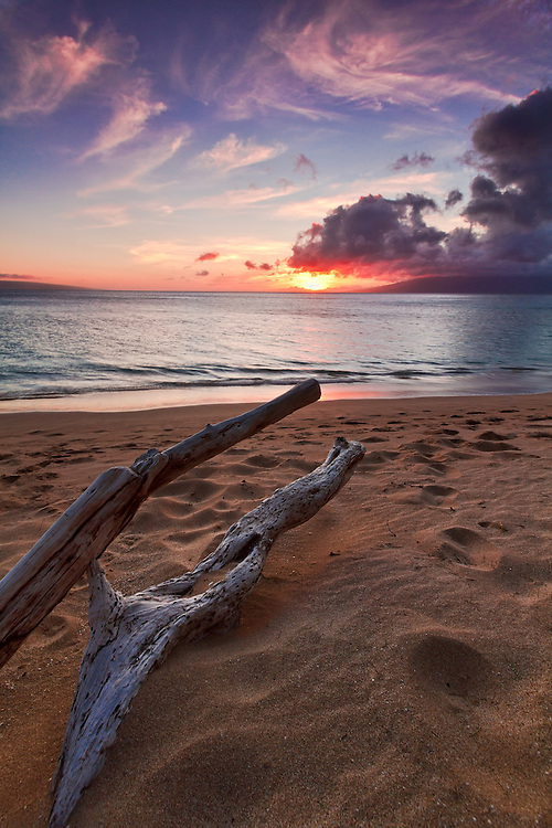 Driftwood towards the setting sun at North Kaanapali Beach in Maui, Hawaii.
