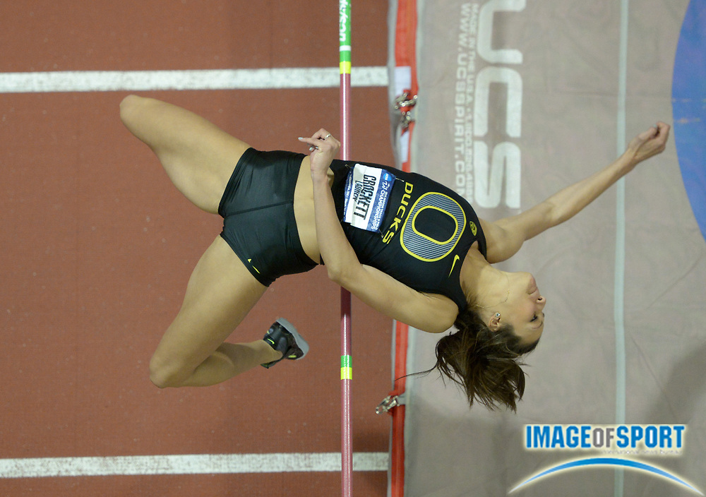 Mar 15, 2014; Albuquerque, NM, USA; Lauren Crockett of Oregon places ninth in the womens high jump at 5-11 1/4 (1.81m) in the 2014 NCAA Indoor Championships at Albuquerque Convention Center.