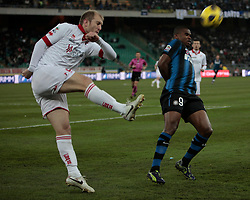Bari (BA), 03-02-2011 ITALY - Italian Soccer Championship Day 23 - Bari VS Inter..Pictured: Masiello (B) Eto'o (I).Photo by Giovanni Marino/OTNPhotos . Obligatory Credit