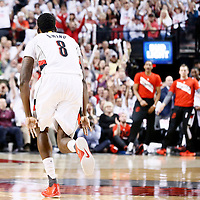 25 April 2016: Portland Trail Blazers forward Al-Farouq Aminu (8) celebrates during the Portland Trail Blazers 98-84 victory over the Los Angeles Clippers, during Game Four of the Western Conference Quarterfinals of the NBA Playoffs at the Moda Center, Portland, Oregon, USA.