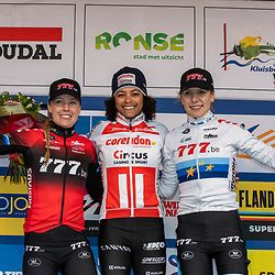 2019-12-14 Cycling: dvv verzekeringen trofee: Ronse: Ceylin Alvarado wins the Hotondcross ahead of Annemerie Worst and Yara Kastelijn