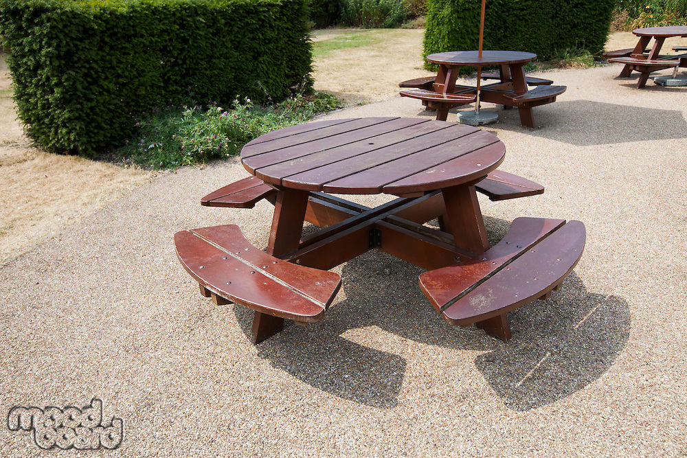 Wooden picnic tables in park