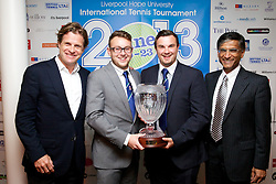 LIVERPOOL, ENGLAND - Wednesday, June 12, 2013: Corporate Tennis winners Jonathan Coffey and Adam Owen with Tournament Director Anders Borg and Professor Gerald Pillay during a Gala Dinner for the sponsors of the Liverpool Hope International Tennis Tournament hosted by Liverpool Hope University at Hope Park. (Pic by David Rawcliffe/Propaganda)