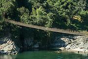 Bamboo suspension bridge<br /> Paya Village<br /> Adi Gallong Tribe<br /> Arunachal Pradesh<br /> North East India