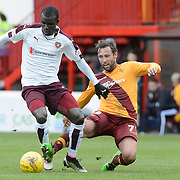 Motherwell v Hearts <br /> 3pm Saturday 23 April 2016<br /> <br /> Second Half Action - Abiola DAUDA of Hearts is tackled by  Motherwell's Scott MacDonald