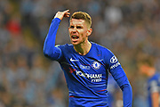 Jorginho (5) of Chelsea makes his feelings known during the Carabao Cup Final match between Chelsea and Manchester City at Wembley Stadium, London, England on 24 February 2019.