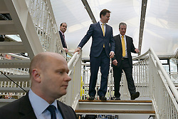 © Licensed to London News Pictures. 01/03/2013. Eastleigh, UK Liberal Democrat leader and Deputy Prime Minister Nick Clegg (centre left) meets with Mike Thornton MP (right) flanked by personal police officers the morning after his by-election victory in Eastleigh today 1st March 2013. The voters of Eastleigh voted  in a by-election prompted by the resignation of former Lib Dem cabinet minister Chris Huhne. Photo credit : Stephen Simpson/LNP